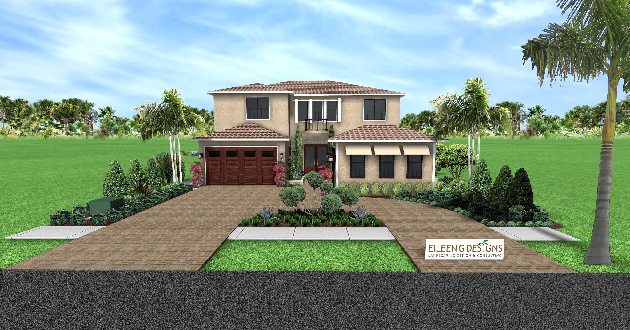 Mediterranean Themed Landscape Design for New Construction in Boca Raton, South Florida