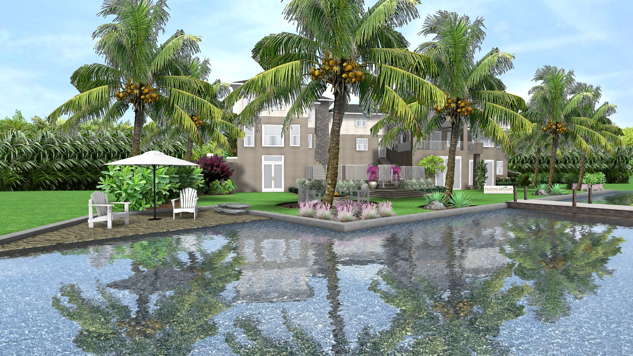 Tropical landscape design for new waterfront home in for Florida landscape design