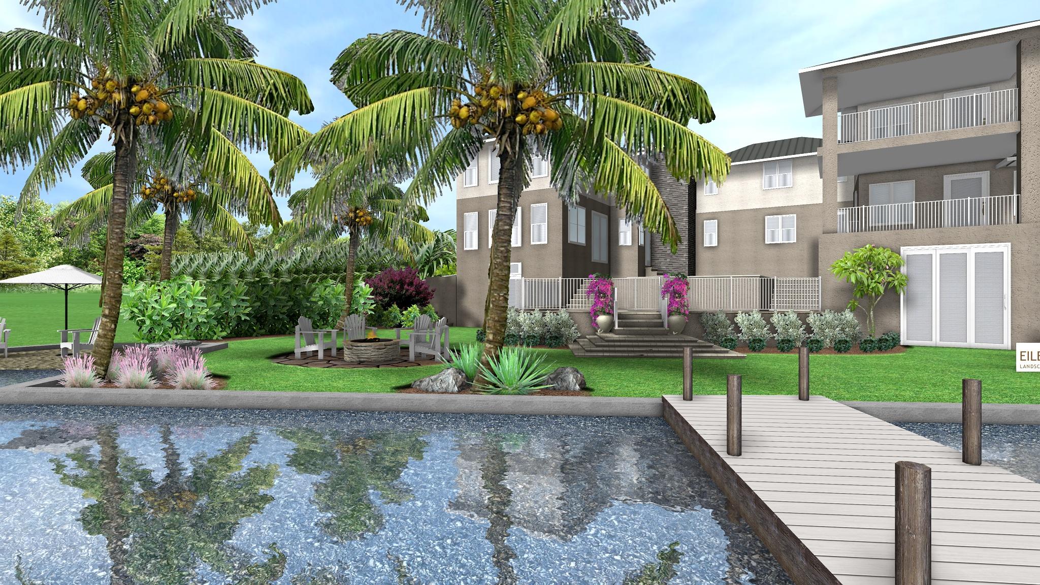Tropical Landscape Design for Waterfront Home, Stuart, FL