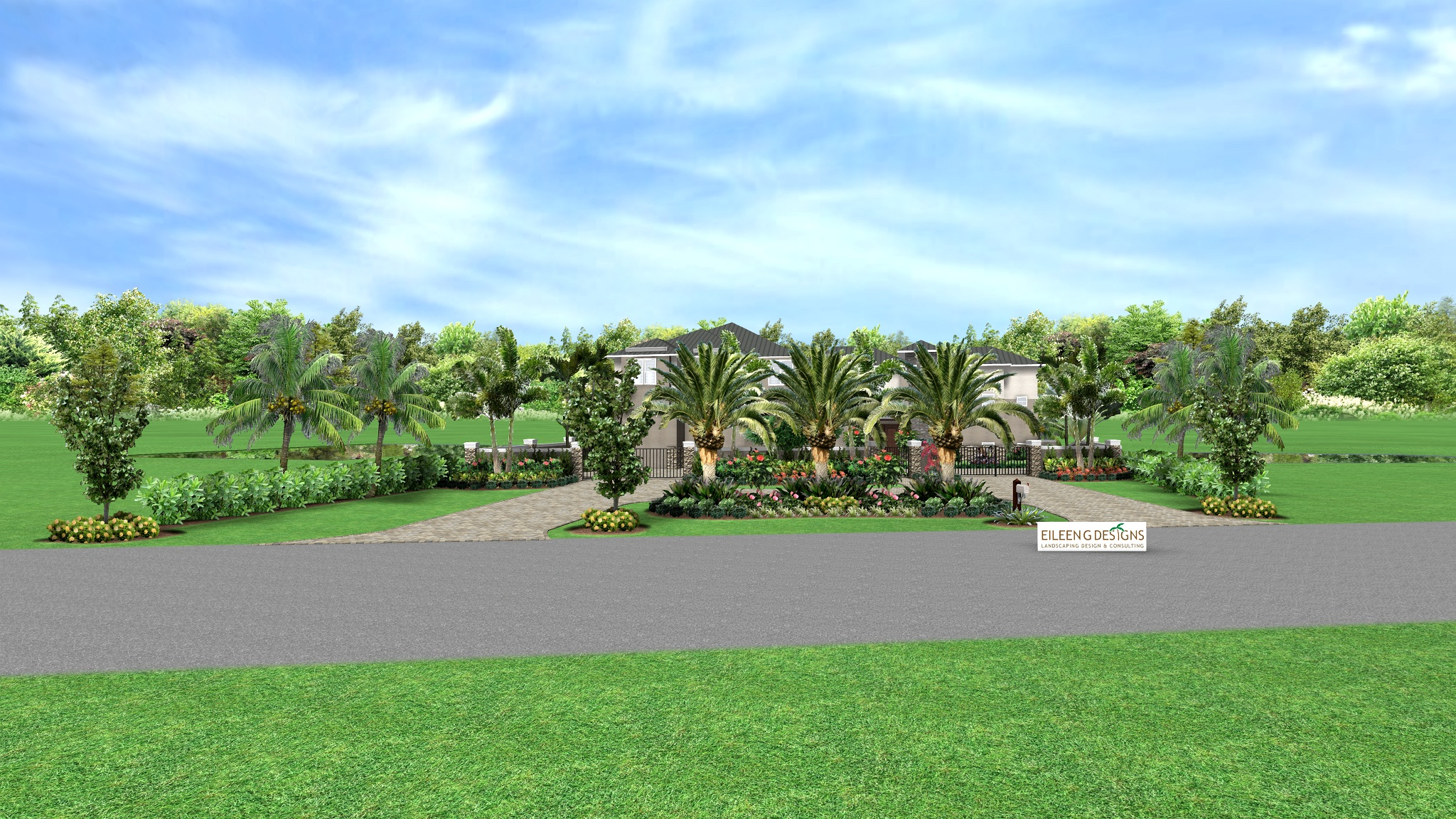 tropical landscape design for new waterfront home in