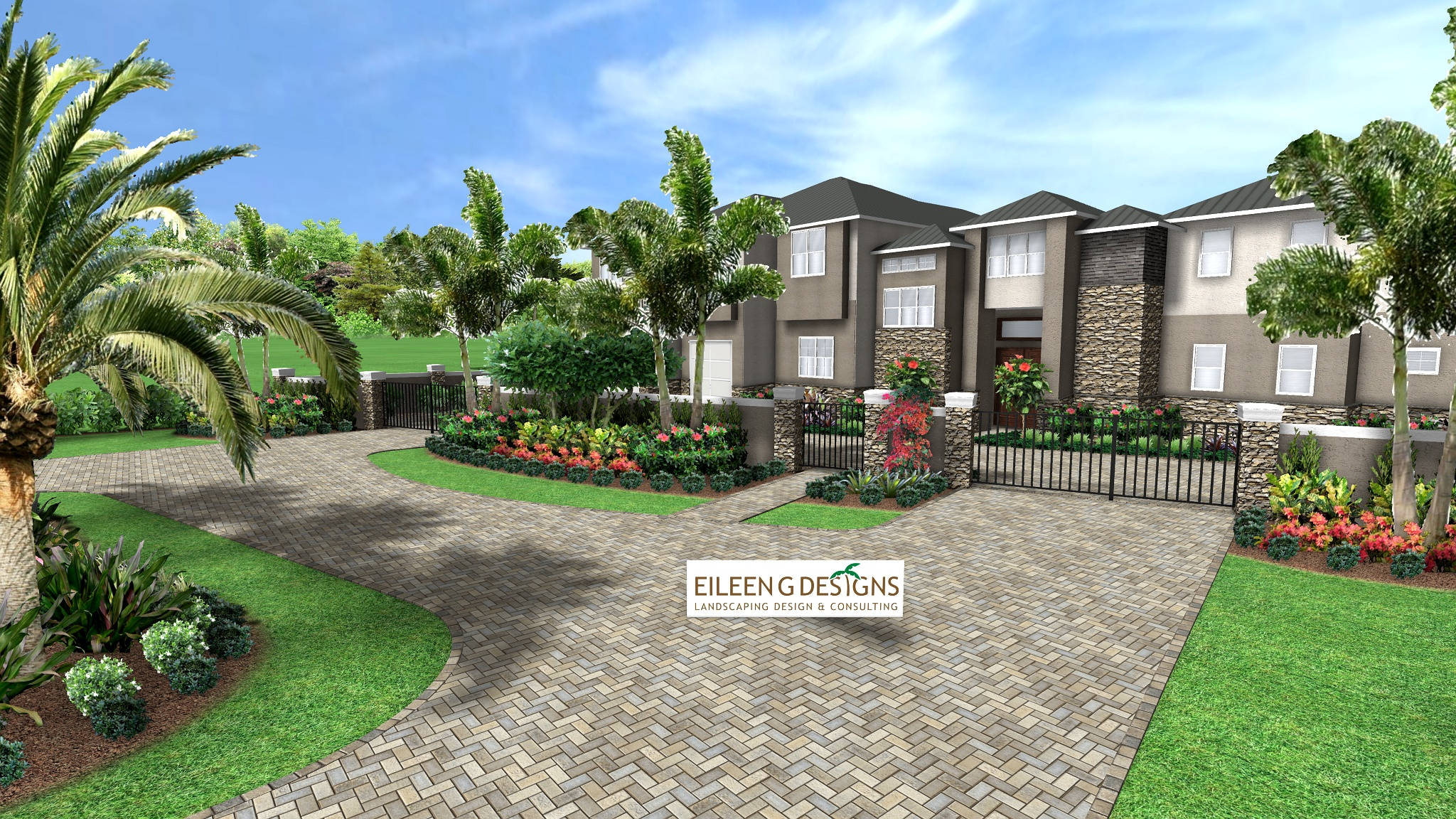Tropical landscape design for new waterfront home in for Tropical landscape design