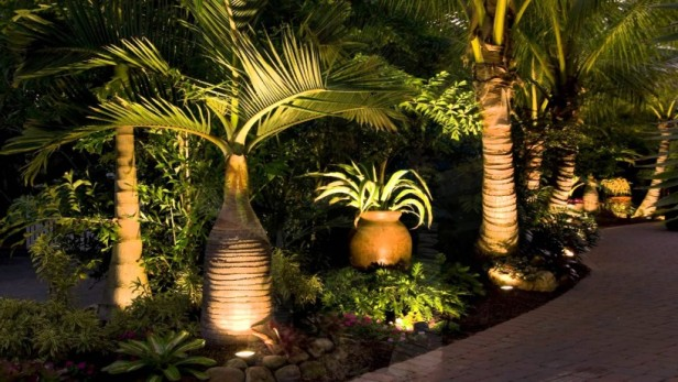 Tropical landscape renovation includes brick paver patio and walkway, tropical landscaping, landscape lighting, decorative pots.