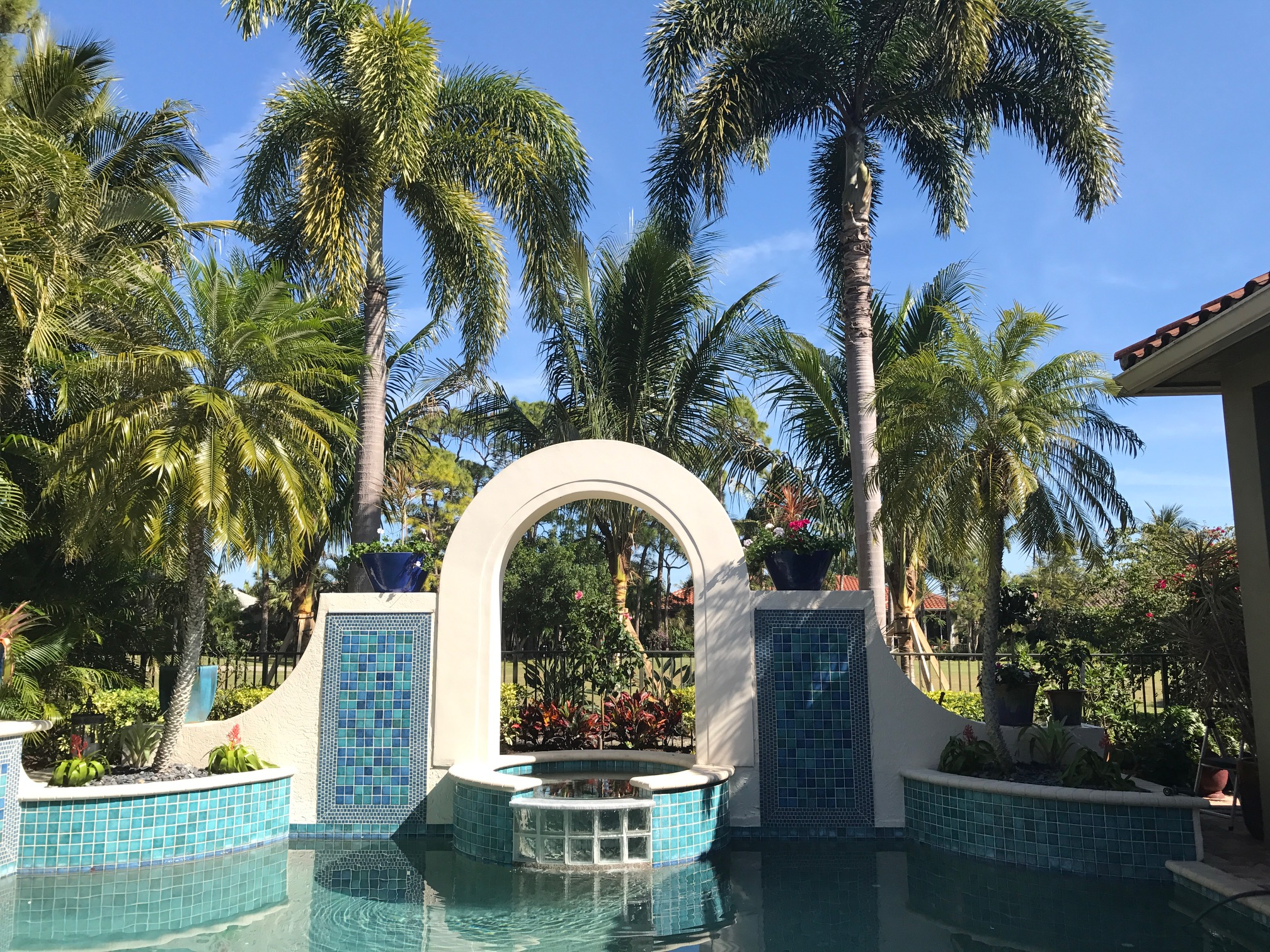 Coconut Palms and Hibiscus Tree Make Great Backdrop for Pool Arch