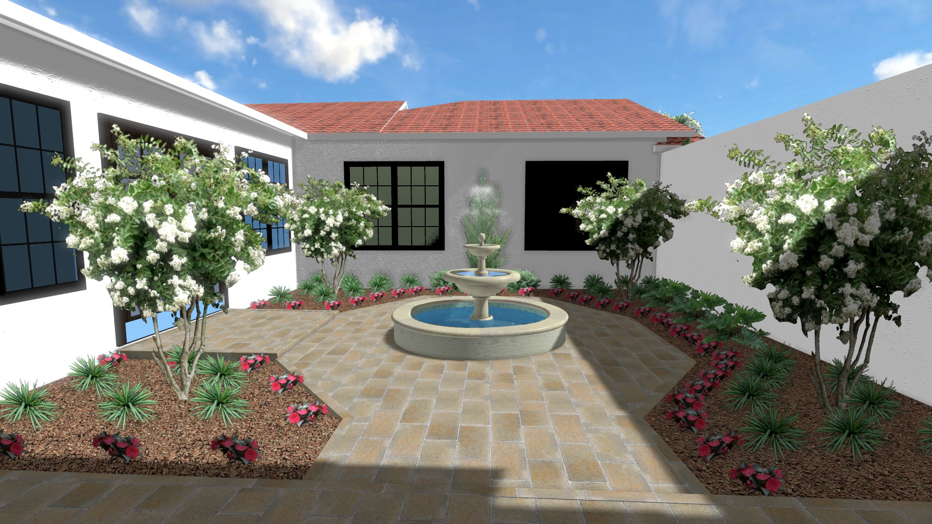 Mediterranean Courtyard with Fountain