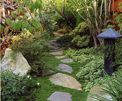 Slate stepping stones, a Japanese lantern and other tropical plants create a functional yet serene garden.