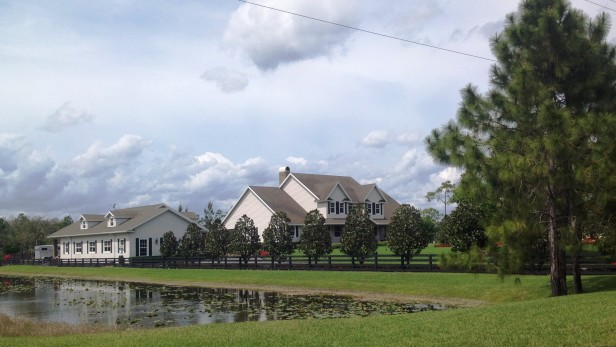 Country estate landscaping design includes Magnolias and a beautiful wooden fence.