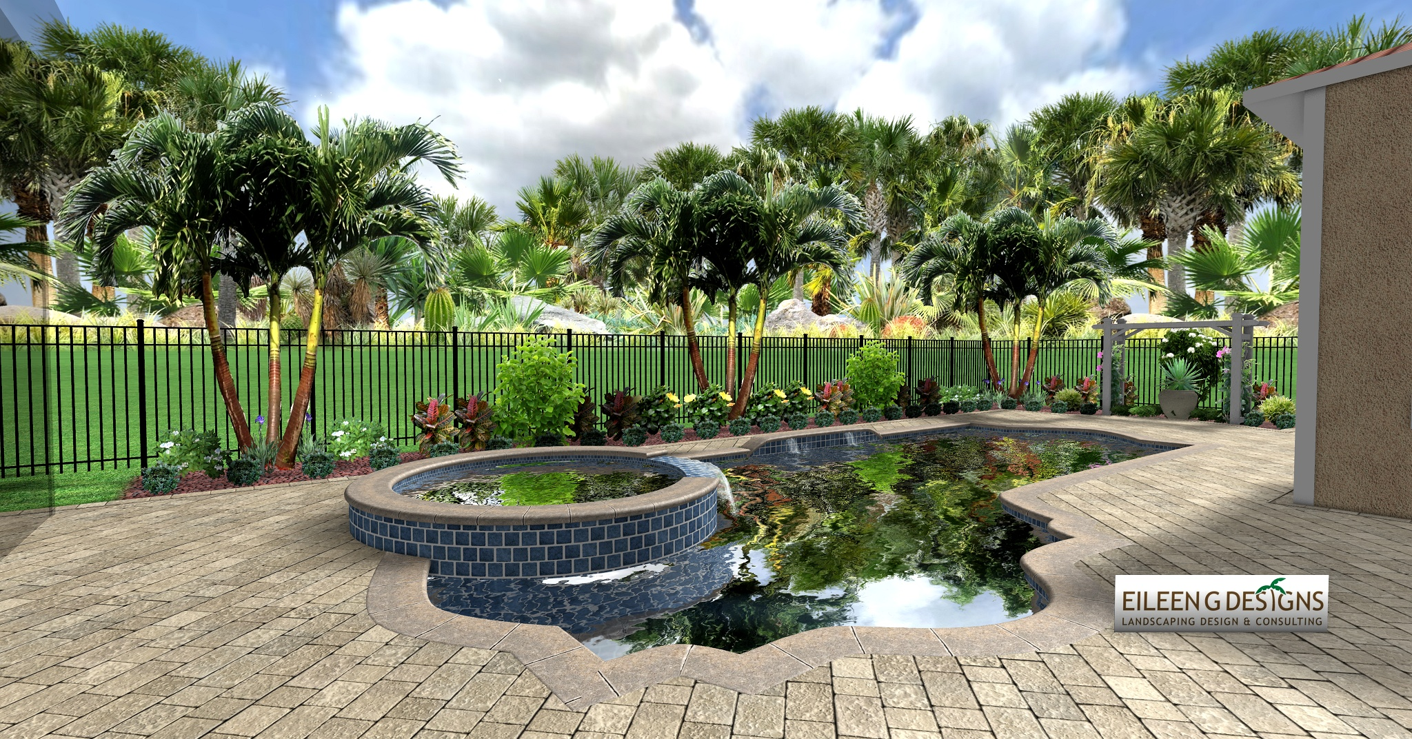 Tropical Landscaping And Paver Deck For Small Pool Area