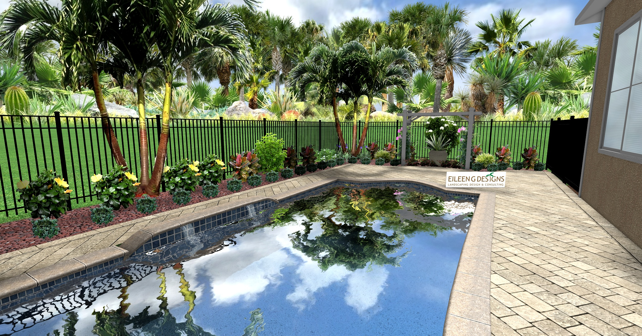 Tropical Landscaping And Paver Deck For Small Pool Area Eileen G
