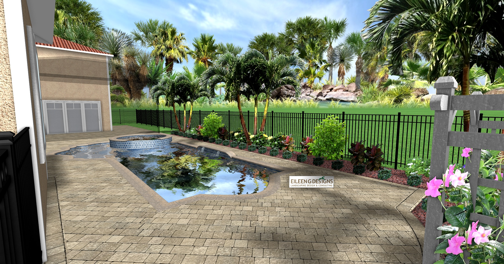 Small back yard design features a new paver brick pool deck, low maintenance tropical landscaping, decorative rock and a gorgeous pot.